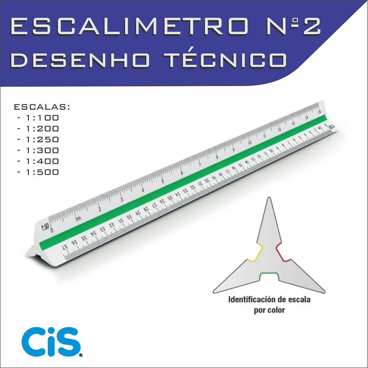 Escalímetro Régua Triangular Plástico 30 Cm N° 2 Cis - Fenix