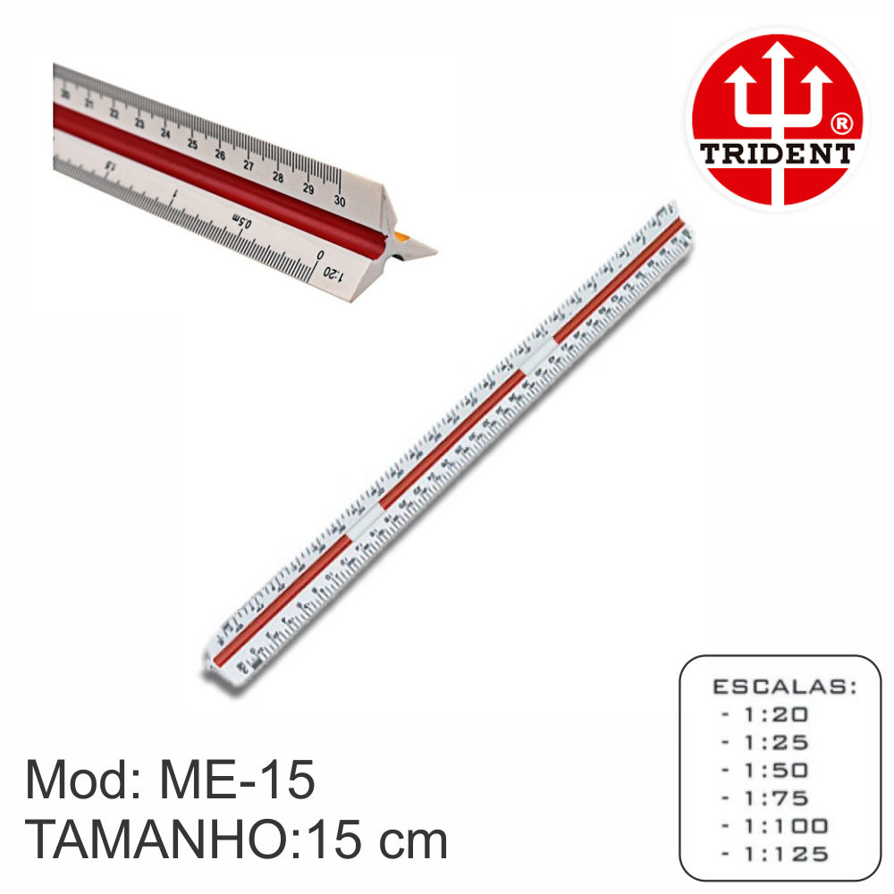 Escalimetro Trident bolso mini ME-15 Numero 1 Desetec 15 cm