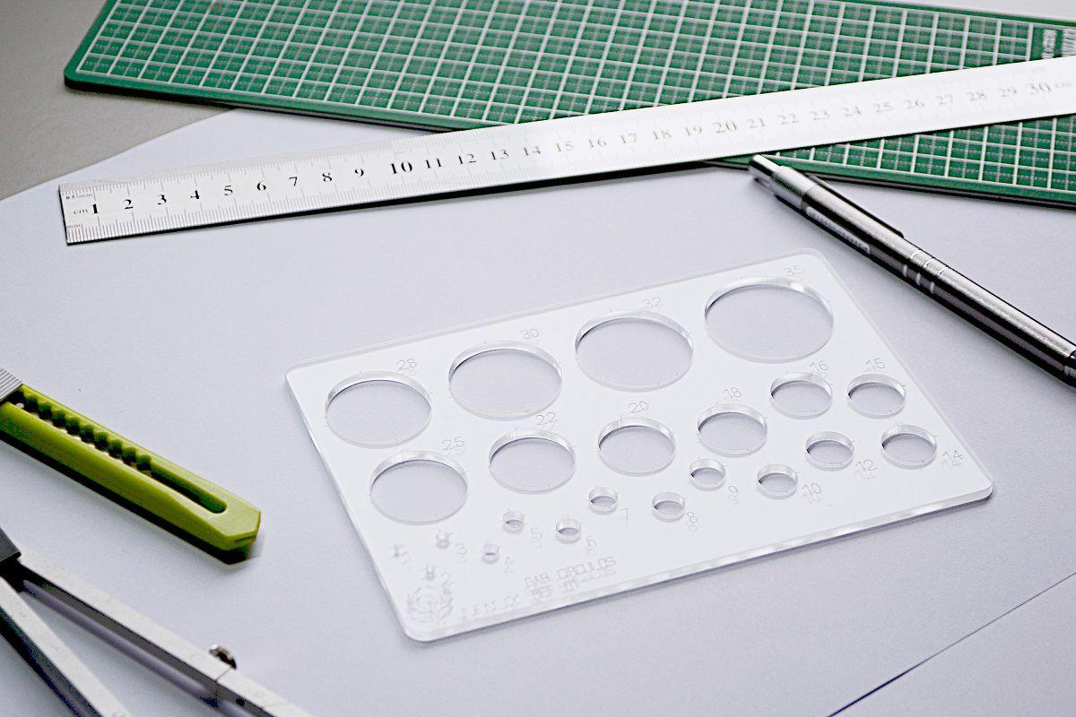 Gabarito de Círculos - Bolometro pequeno mod D-1 em acrílico - Fenix