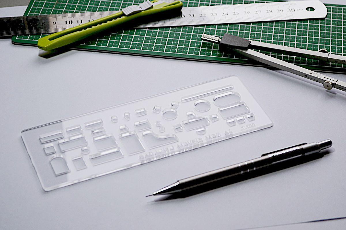 Gabarito de Móveis mod A-4 em acrílico - Fenix