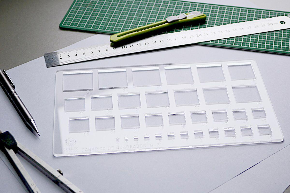 Gabarito de Quadrados mod D-16 em acrílico - Fenix