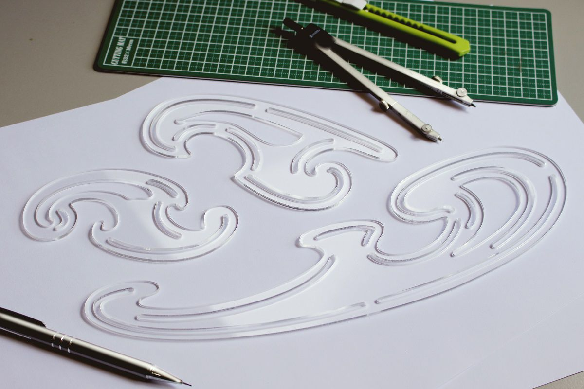 Jogo de curvas francesas gabarito mod. D-14 acrílico transparente - Fenix