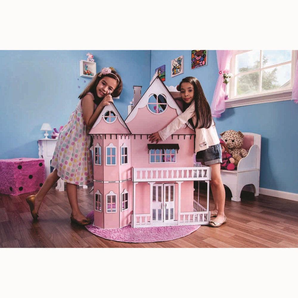 Kit Casa Boneca e Móveis Escala Barbie Emily P+B - Darama