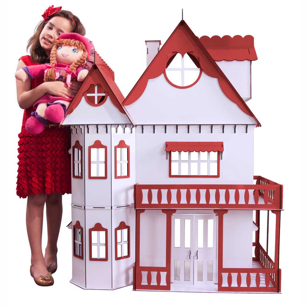 Kit Casa Boneca e Móveis Escala Barbie Emily R+B - Darama