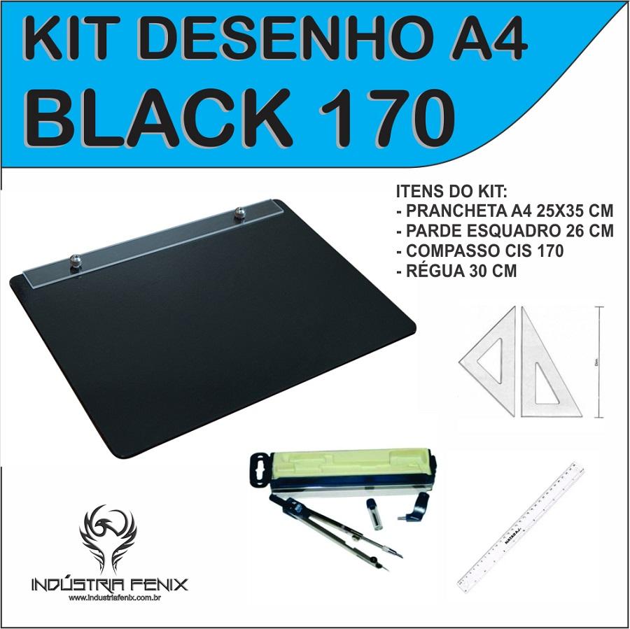 Kit Desenho Técnico a4 Preta Engenharia Arquitetura Par Esquadro 26 cm Compasso Cis 170 Regua 30