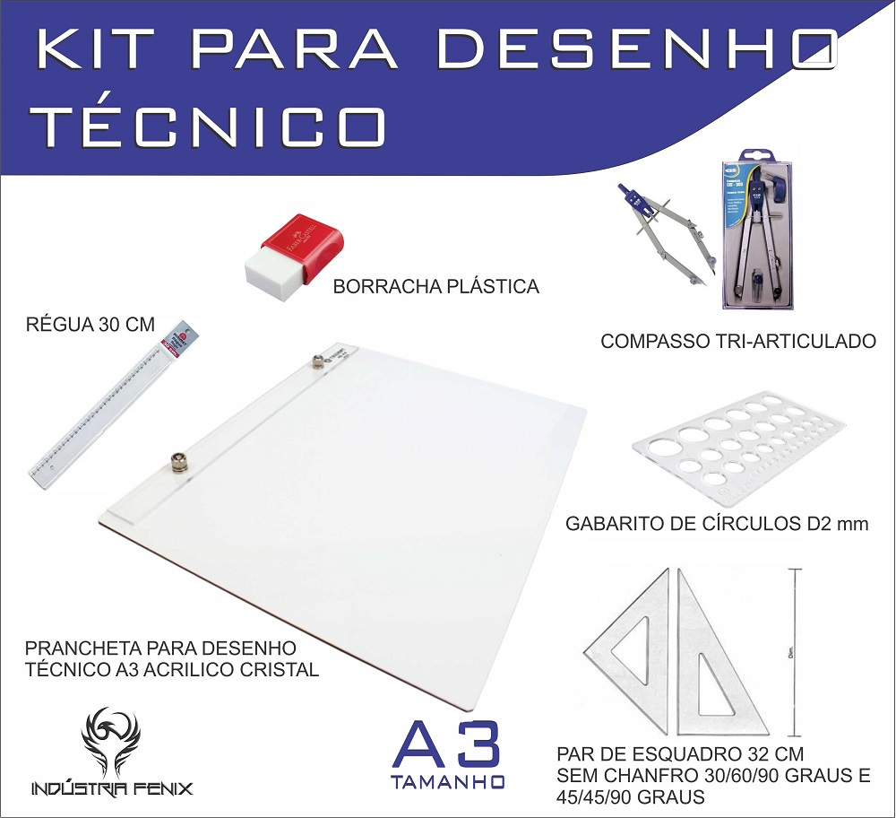 Kit Desenho Técnico Prancheta Engenharia ARQUITETURA A3 ACRILICO Esquadro 32 Compasso 303 GABARITO BORRACHA Regua 30 CM