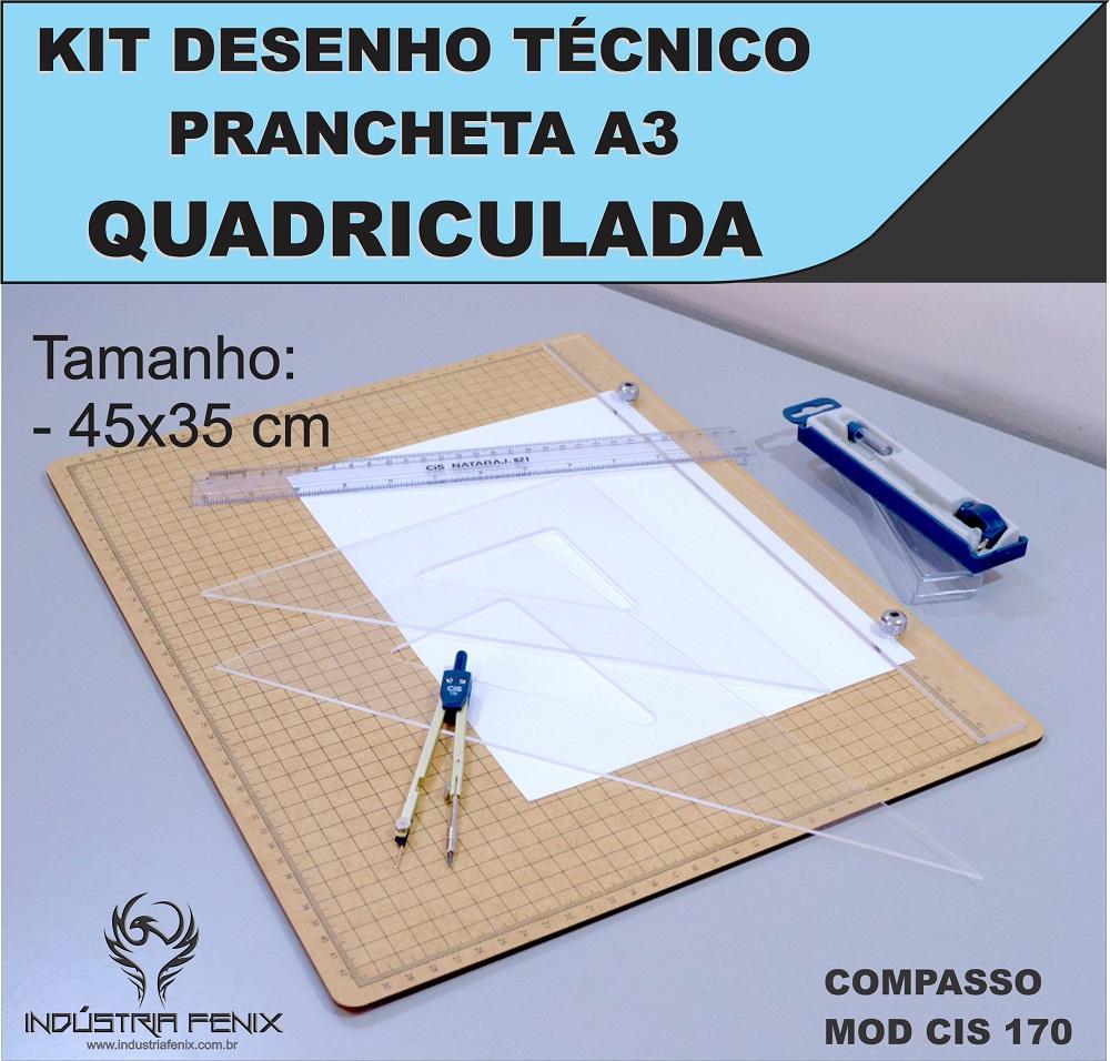 Kit Desenho Técnico Prancheta Engenharia Arquitetura a3 QUADRICULADA Esquadros 32 cm Compasso Cis 170 Regua 30 CM FENIX