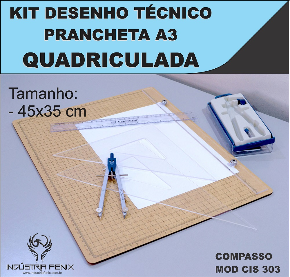Kit Desenho Técnico Prancheta Engenharia Arquitetura a3 QUADRICULADA Esquadros 32 cm Compasso Cis 303 Regua 30 CM FENIX