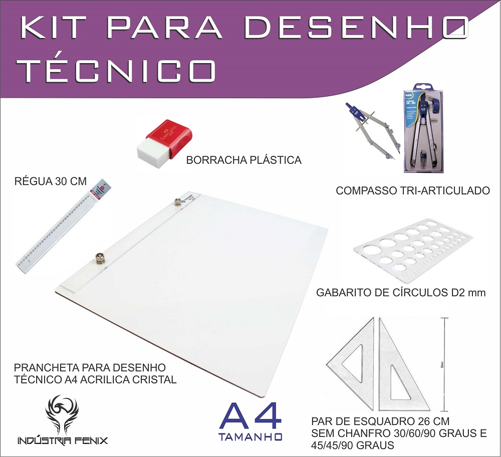 Kit Desenho Técnico Prancheta Engenharia ARQUITETURA A4 ACRILICO Esquadro 26 Compasso 303 GABARITO BORRACHA Regua 30 CM