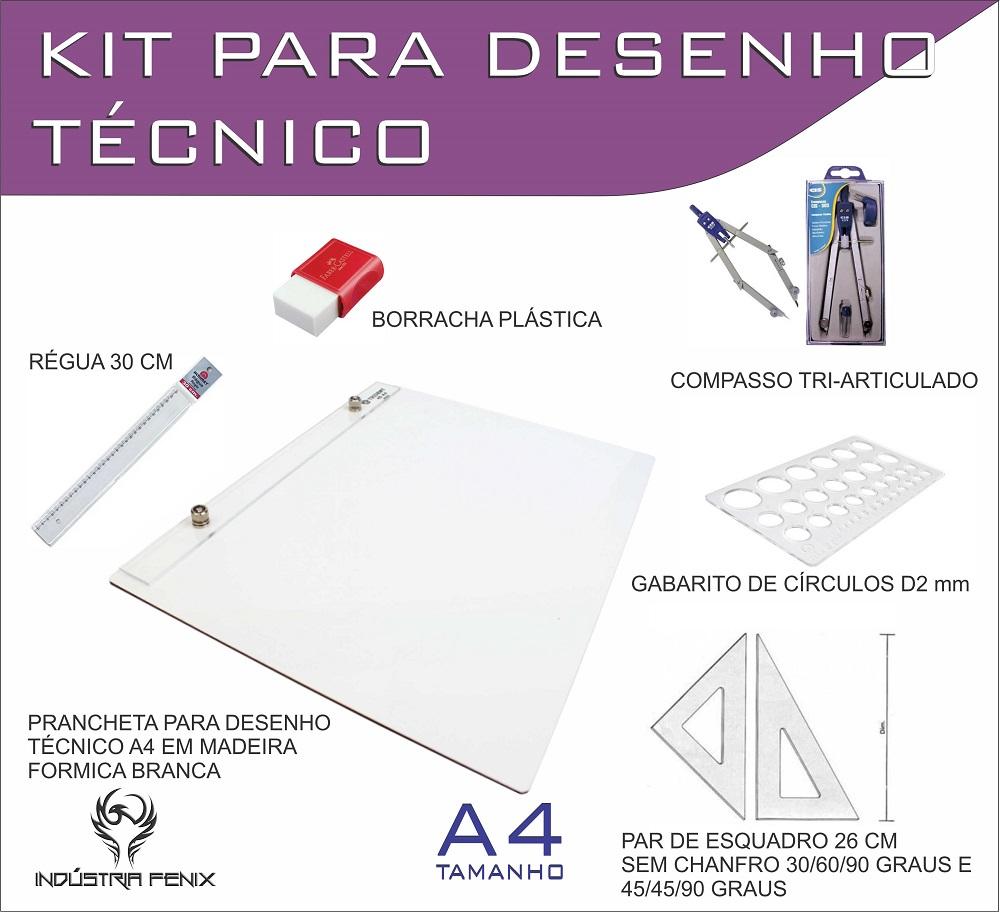 Kit Desenho Técnico Prancheta Engenharia ARQUITETURA A4 FORMICA Esquadro 26 Compasso 303 GABARITO BORRACHA Regua 30 CM