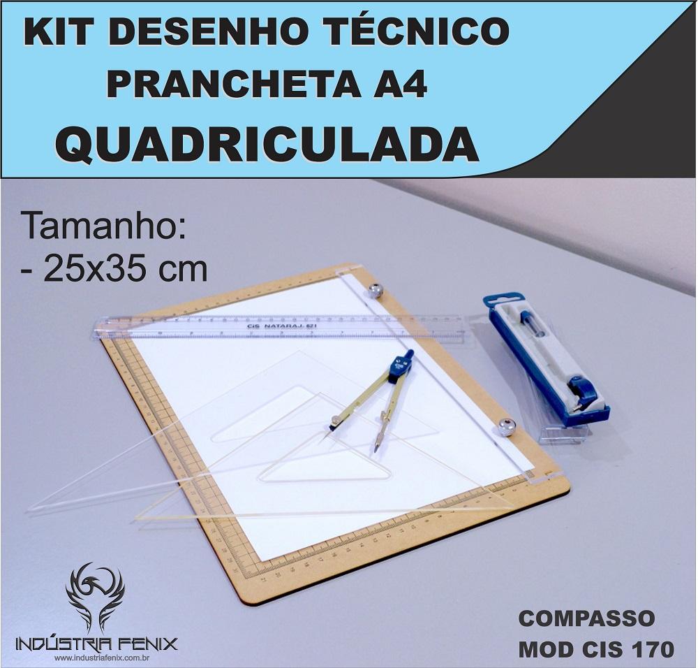 Kit Desenho Técnico Prancheta Engenharia Arquitetura a4 QUADRICULADA Esquadros 26 cm Compasso Cis 170 Regua 30 CM FENIX