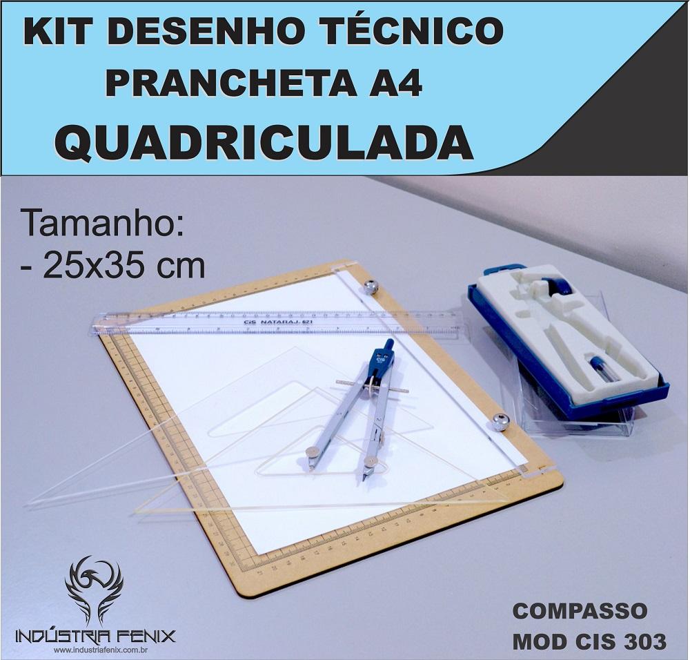 Kit Desenho Técnico Prancheta Engenharia Arquitetura a4 QUADRICULADA Esquadros 26 cm Compasso Cis 303 Regua 30 CM FENIX