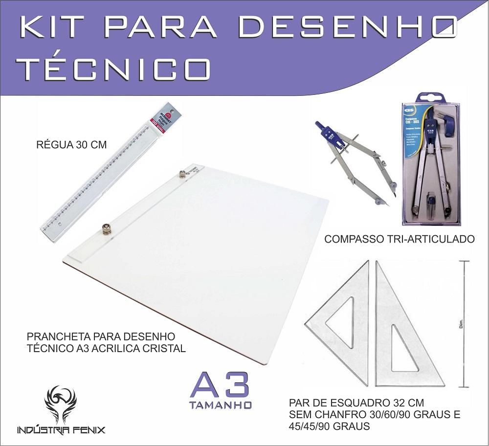 Kit Desenho Técnico Prancheta Engenharia Arquitetura Edificações A3 ACRILICO Par Esquadro 32 cm Compasso Cis 303 Regua 3
