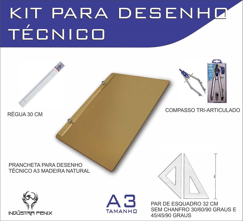 Kit Desenho Técnico Prancheta Engenharia Arquitetura Edificações a3 NATURAL Par Esquadro 32 cm Compasso Cis 303 Regua 30