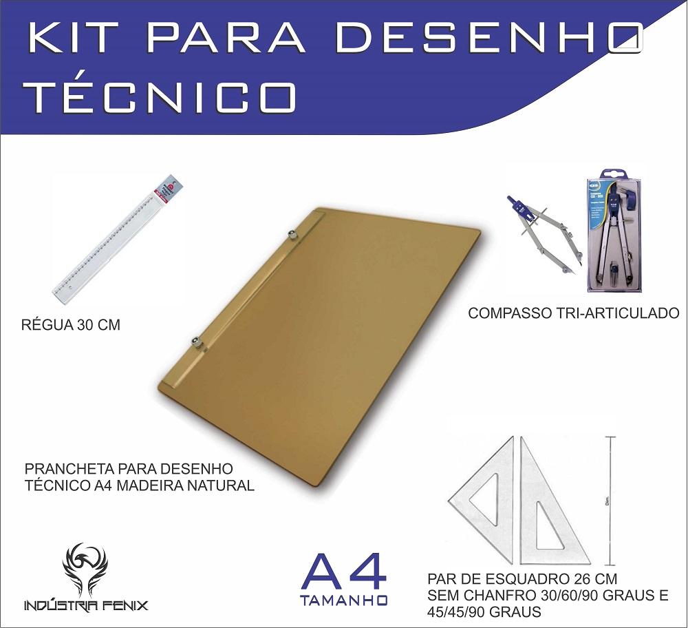 Kit Desenho Técnico Prancheta Engenharia Arquitetura Edificações a4 NATURAL Par Esquadro 26 cm Compasso Cis 303 Regua 30