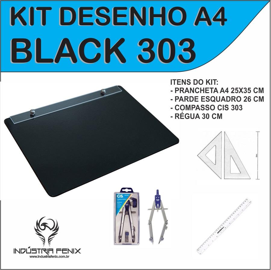 Kit Desenho Técnico Prancheta Engenharia Arquitetura Edificações a4 PRETO Par Esquadro 26 cm Compasso Cis 303 Regua 30