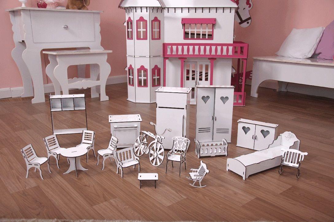 816cd6bb9 Kit Móveis Em MDF Branco 18 Peças Escala Barbie - Darama - Darama ...