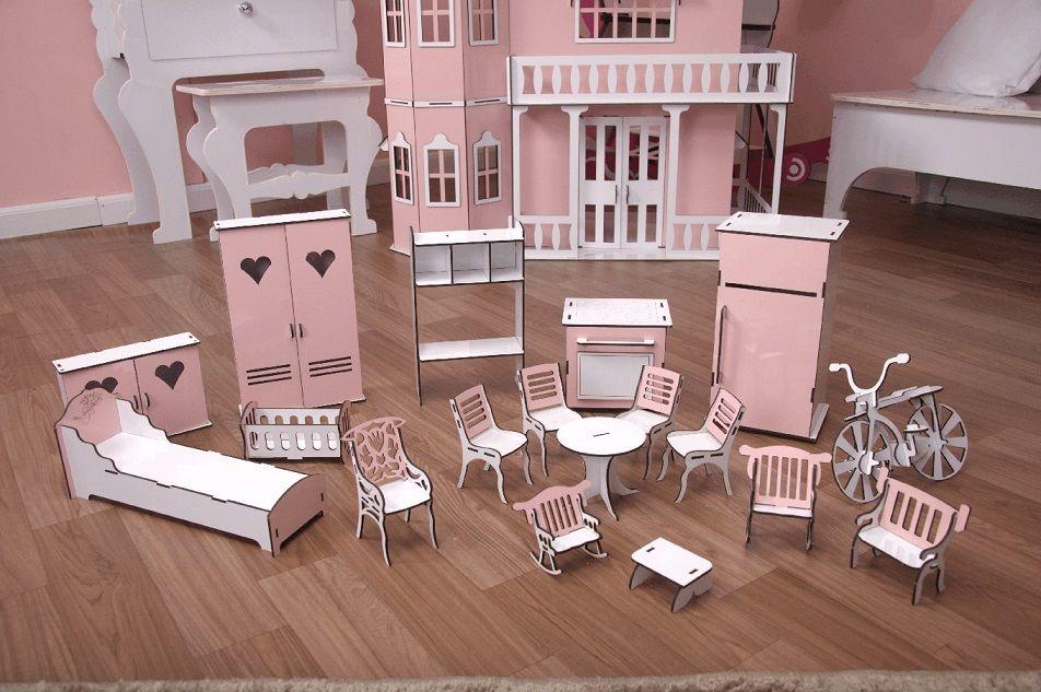 Kit Móveis Em MDF Princesa 18 Peças Escala Barbie - Darama