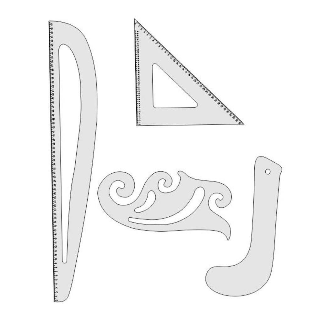 Kit Réguas De Modelagem Corte Costura MDF Branco - Fenix