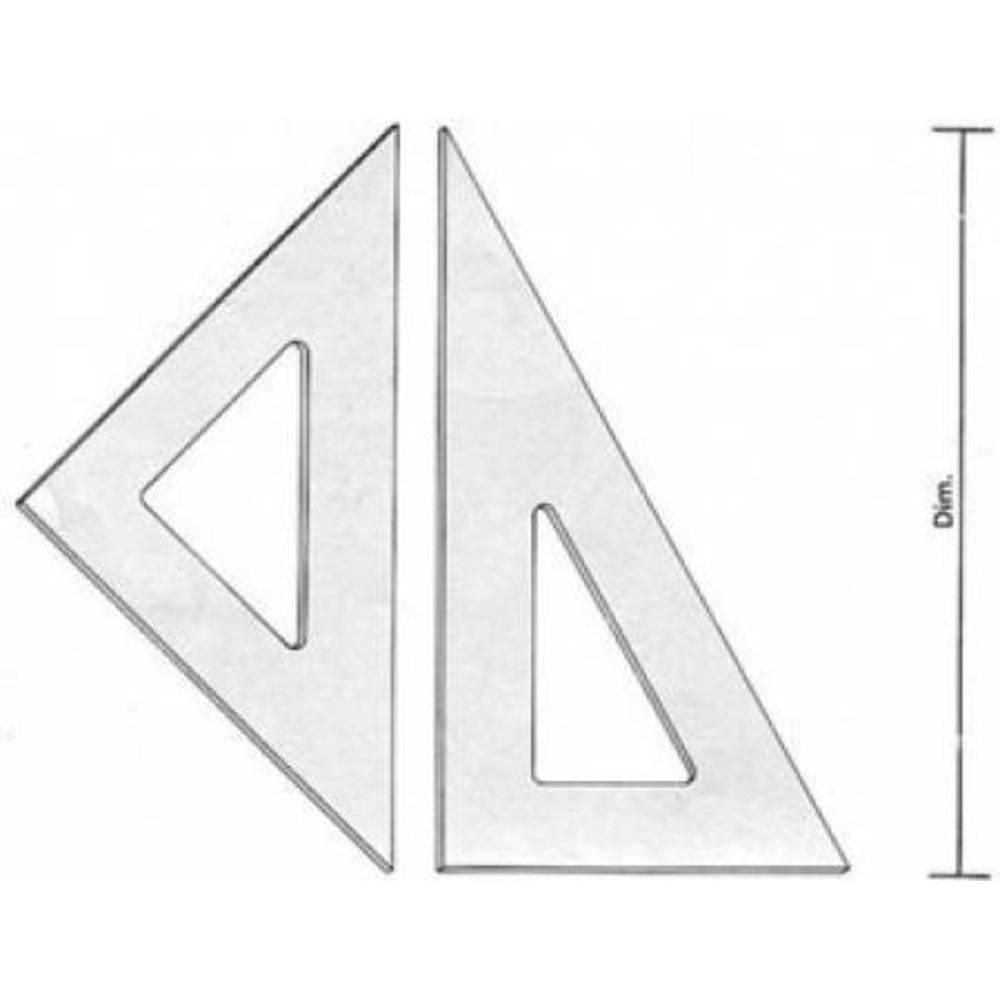 Par De Esquadros Acrilico Desenho Técnico 21 Cm Sem Chanfro Sem Graduação - Fenix