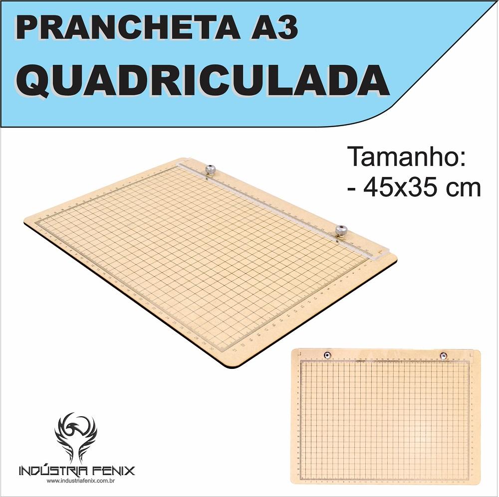 Prancheta Portátil Quadriculada Desenho Técnico Madeira Nat A3 - Fenix