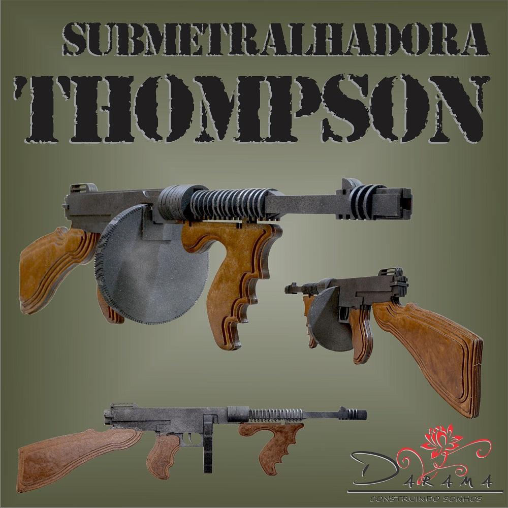 Quebra cabeças 3D Arma SUBMETRALHADORA THOMPSON MDF 3mm PINTURA- Darama
