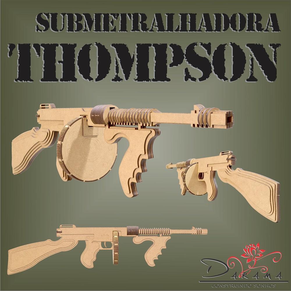 Quebra cabeças 3D Arma SUBMETRALHADORA THOMPSON MDF 3mm NATURAL- Darama