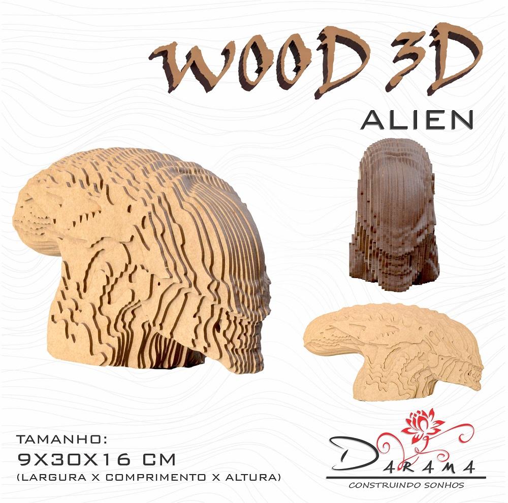 Quebra cabeças 3D Cabeça Enfeite ALIEN Busto MDF 3mm NATURAL - Darama