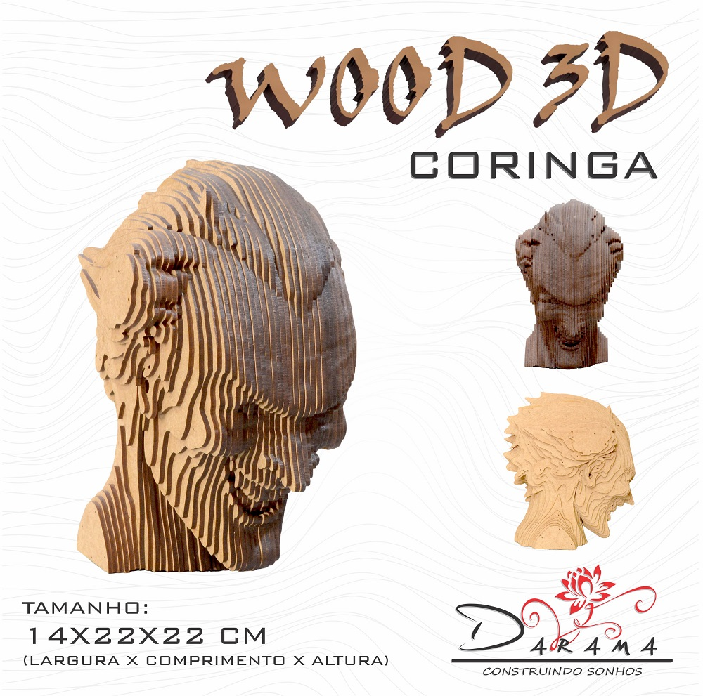 Quebra cabeças 3D Cabeça Enfeite CORINGA Busto MDF 3mm NATURAL - Darama