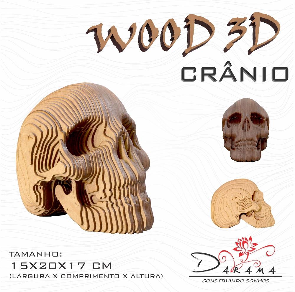 Quebra cabeças 3D Cabeça Enfeite CRANIO Busto MDF 3mm NATURAL - Darama