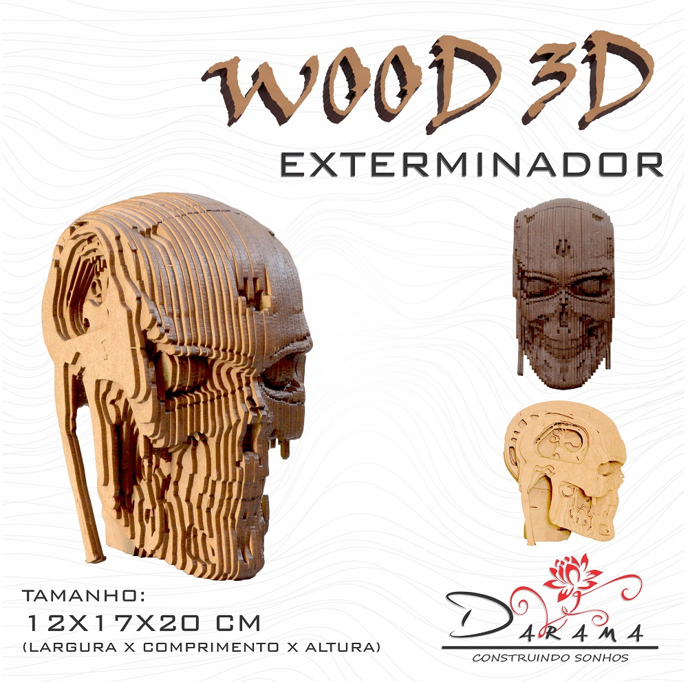 Quebra cabeças 3D Cabeça Enfeite EXTERMINADOR T800 Busto MDF 3mm NATURAL - Darama