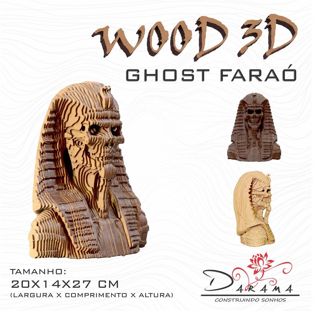 Quebra cabeças 3D Cabeça Enfeite GHOST FARAO Busto MDF 3mm NATURAL - Darama