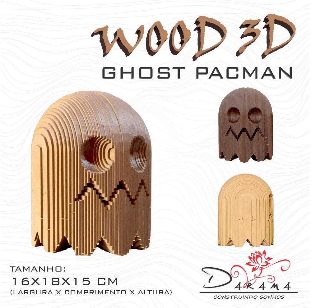 Quebra cabeças 3D Cabeça Enfeite GHOST PACMAN Busto MDF 3mm NATURAL - Darama