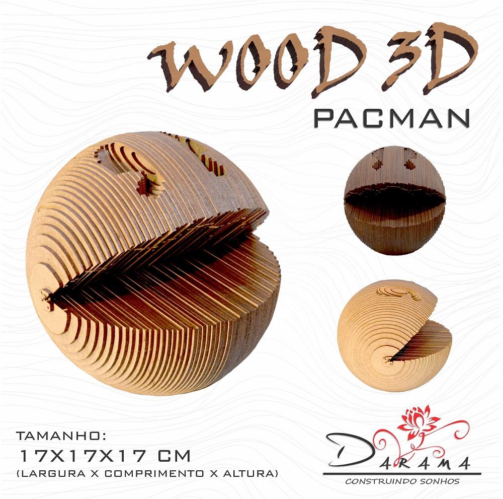 Quebra cabeças 3D Cabeça Enfeite PACMAN Busto MDF 3mm NATURAL - Darama