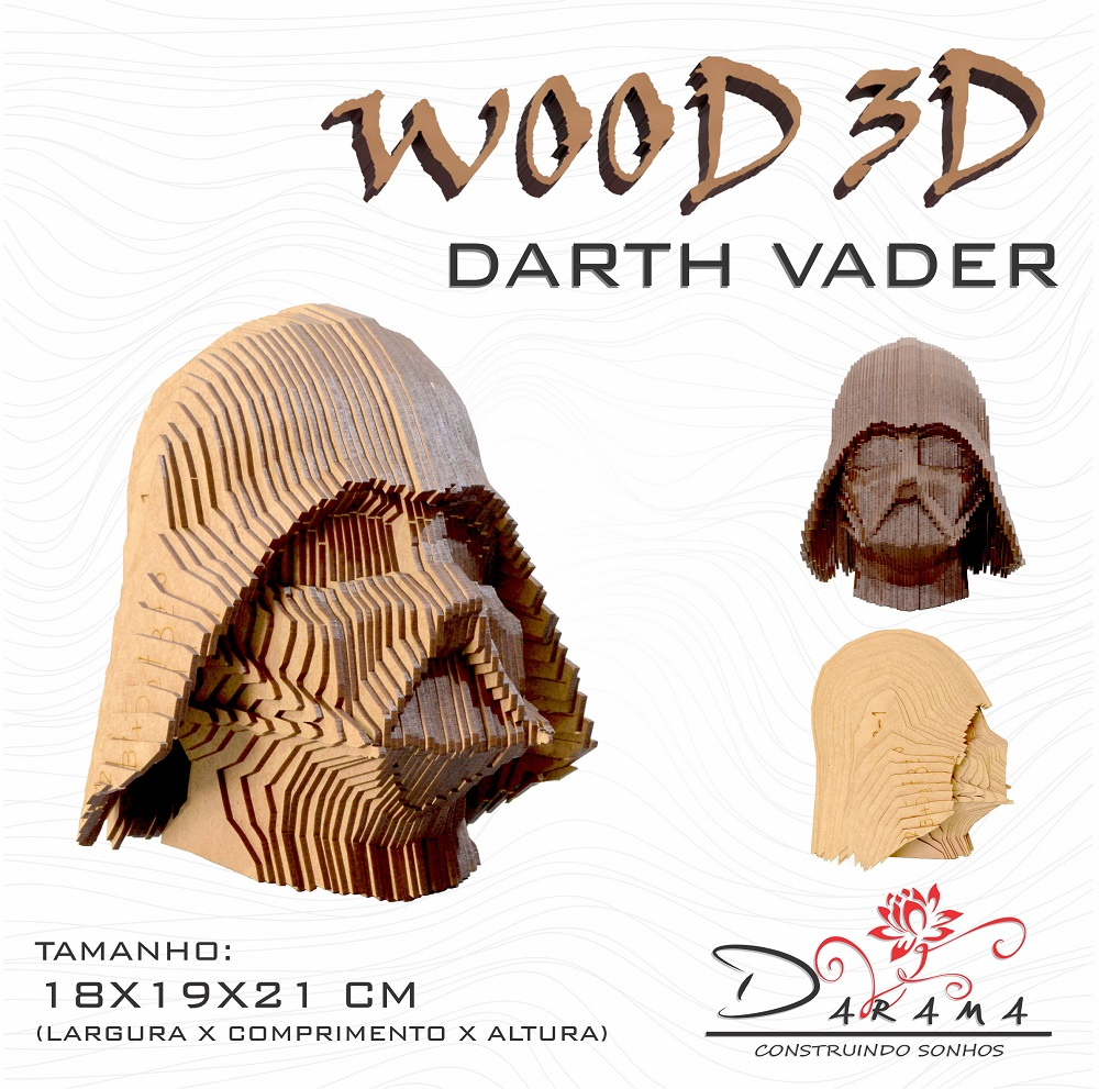 Quebra cabeças 3D Cabeça Enfeite Star Wars Darth Vader Busto MDF 3mm NATURAL - Darama