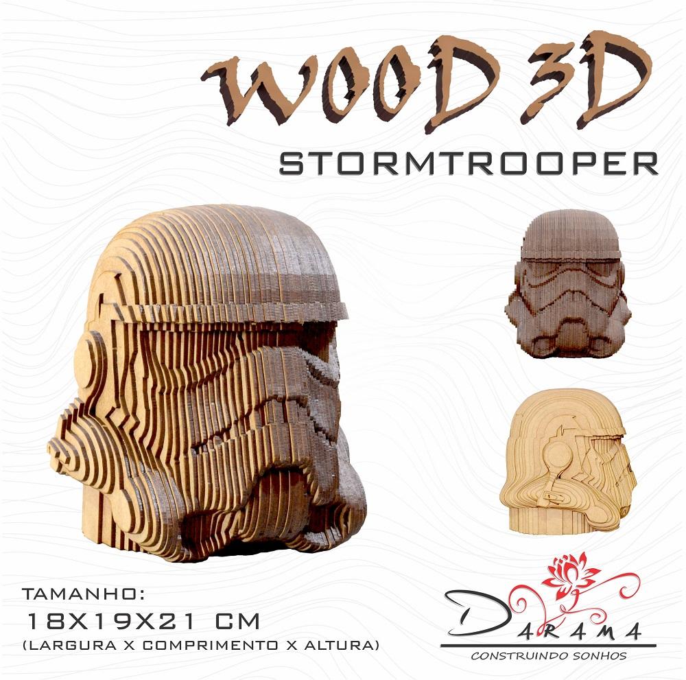 Quebra cabeças 3D Cabeça Enfeite Star Wars Storm Trooper Busto MDF 3mm NATURAL - Darama