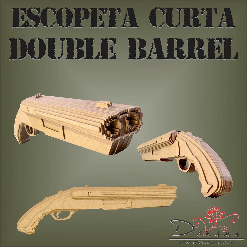 Quebra cabeças 3D mod. Arma Escopeta Curta Cano Duplo em MDF 3mm Natural- Darama