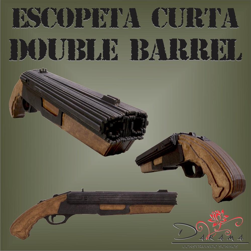 Quebra cabeças 3D mod. Arma Escopeta Curta Cano Duplo em MDF 3mm Pintura- Darama