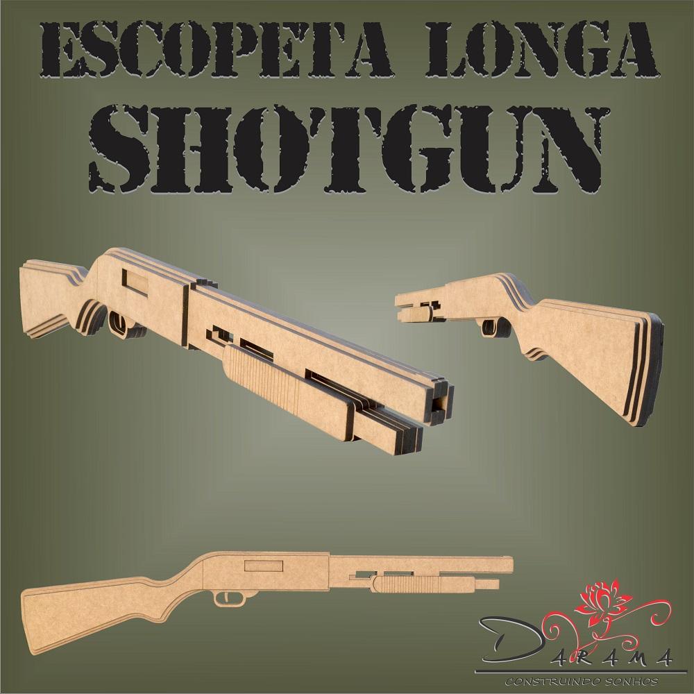 Quebra cabeças 3D mod. Arma Escopeta SHOTGUN Longa em MDF 6mm Natural- Darama