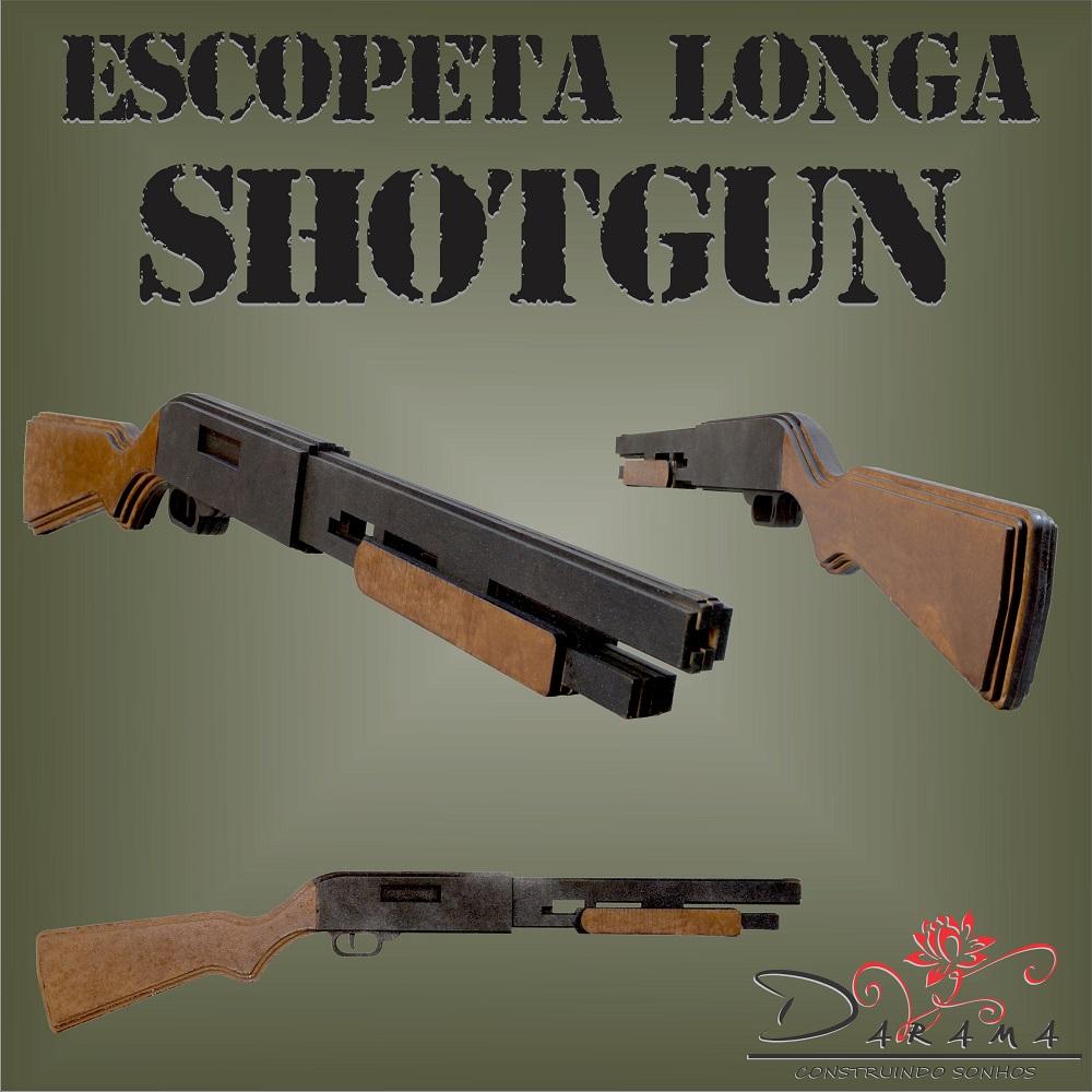 Quebra cabeças 3D mod. Arma Escopeta SHOTGUN Longa em MDF 6mm PINTURA- Darama
