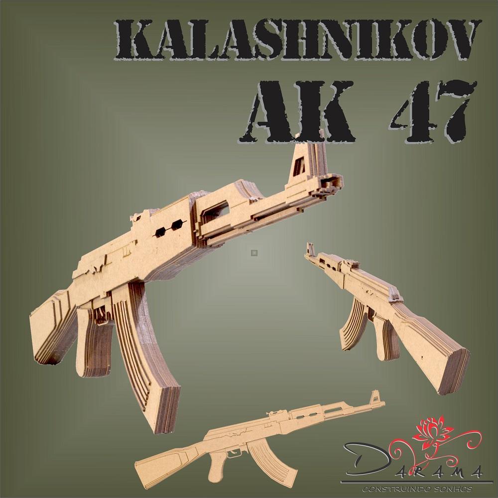 Quebra cabeças 3D mod. Arma Fuzil AK-47 em MDF 3mm Natural - Darama