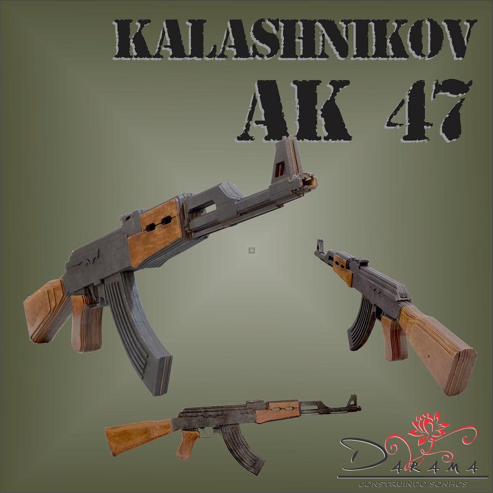 Quebra cabeças 3D mod. Arma Fuzil AK-47 em MDF 3mm Pintura- Darama