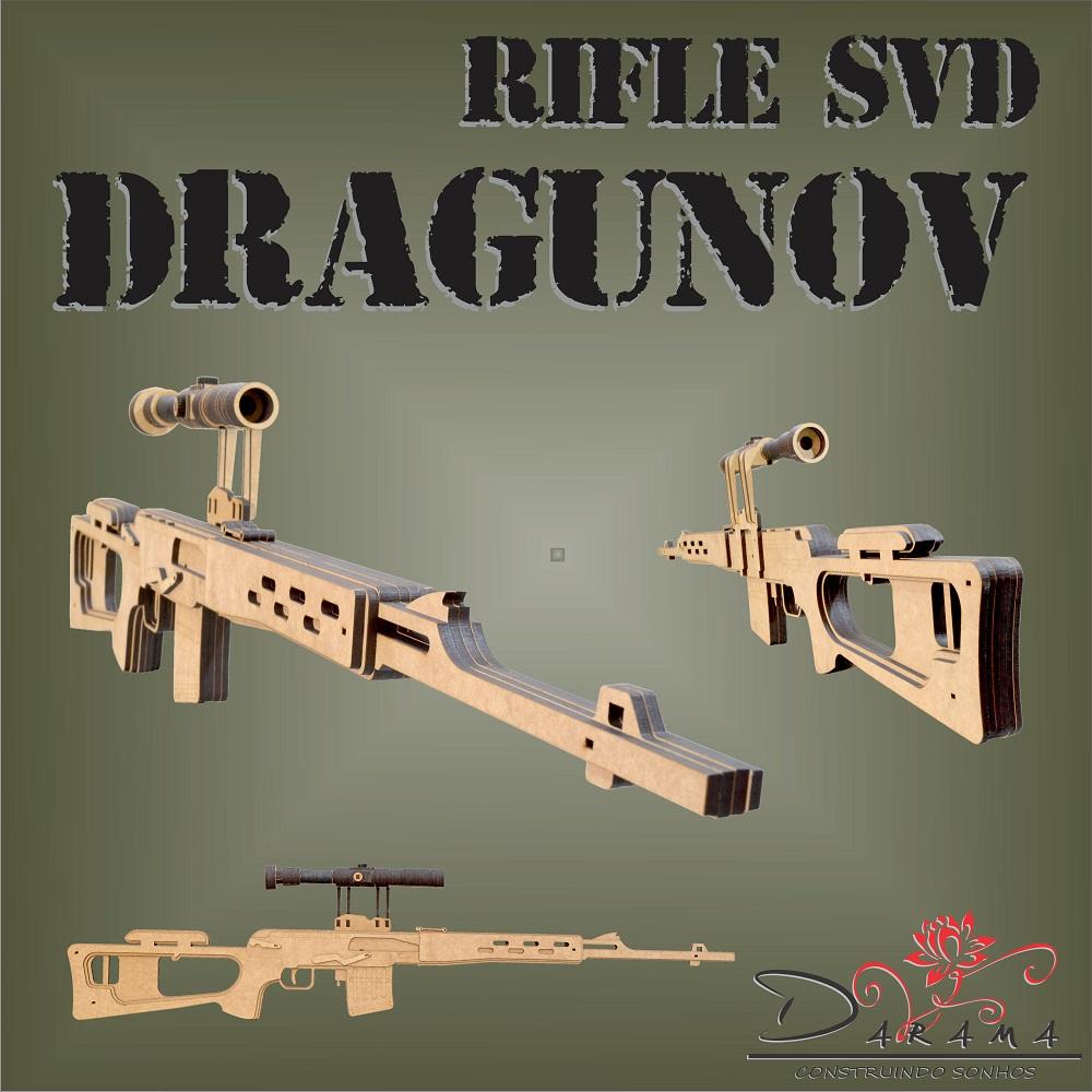 Quebra cabeças 3D mod. Arma Rifle SVD Dragunov em MDF 6mm Natural- Darama
