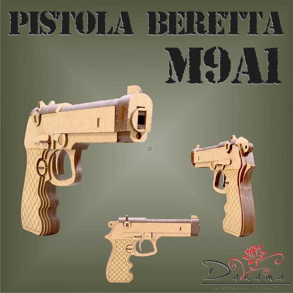 Quebra cabeças 3D mod. Arma Pistola Beretta M9A1 em MDF 3mm Natural - Darama