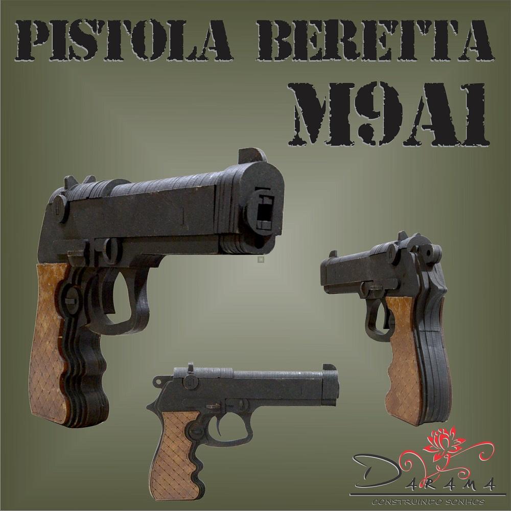 Quebra cabeças 3D mod. Arma Pistola Beretta M9A1 em MDF 3mm Pintura- Darama