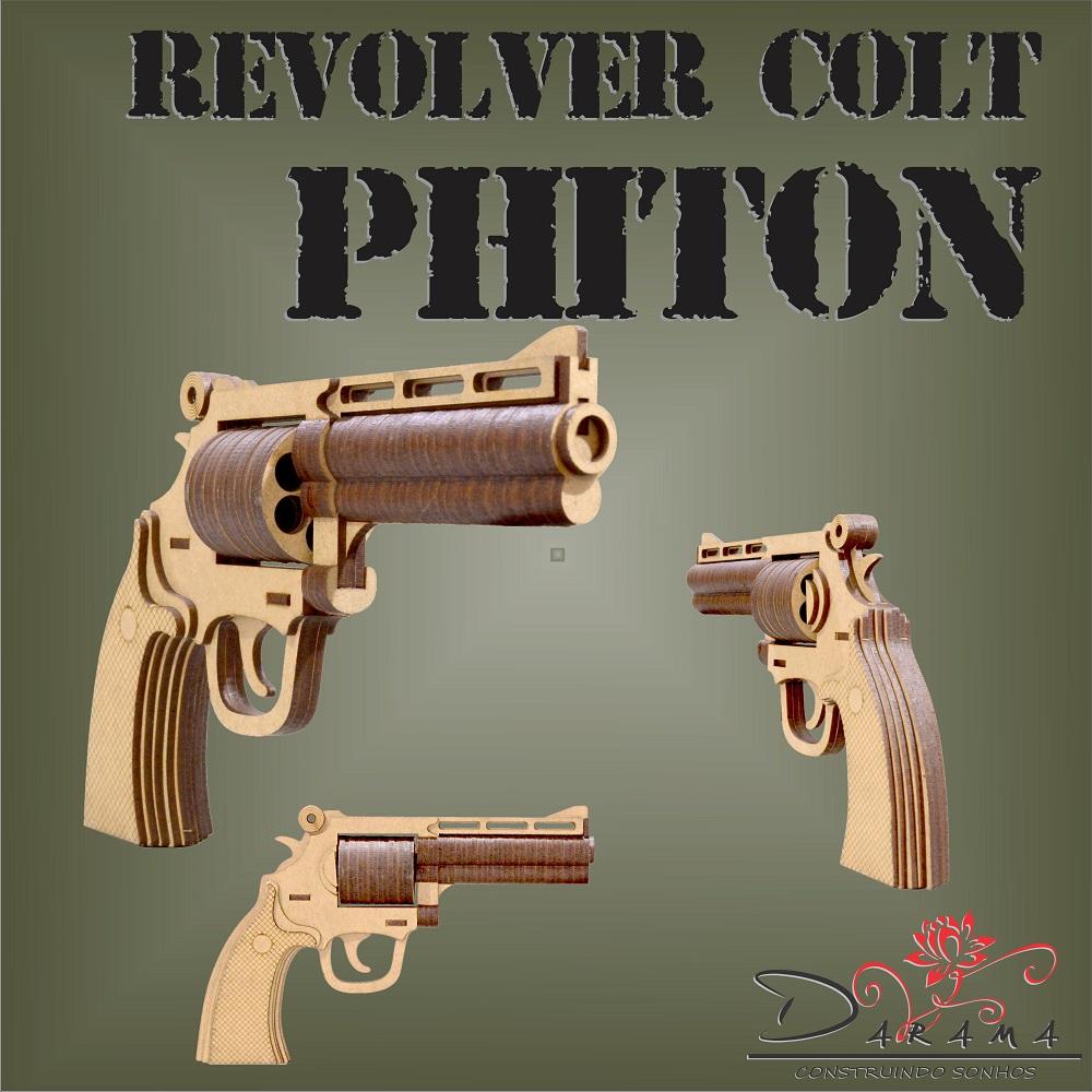 Quebra cabeças 3D mod. Arma Revolver Colt Phiton em MDF 3mm NATURAL- Darama