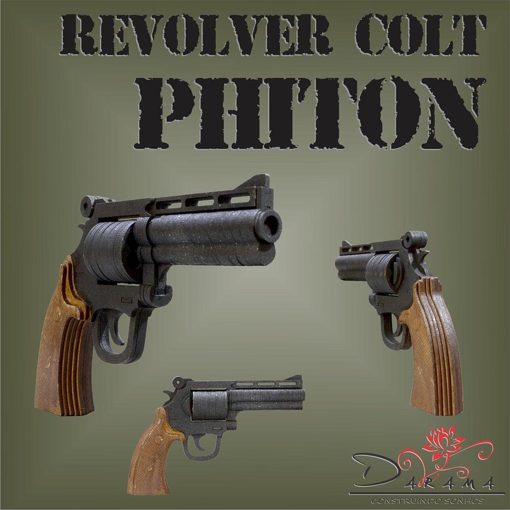 Quebra cabeças 3D mod. Arma Revolver Colt Phiton em MDF 3mm PINTURA- Darama