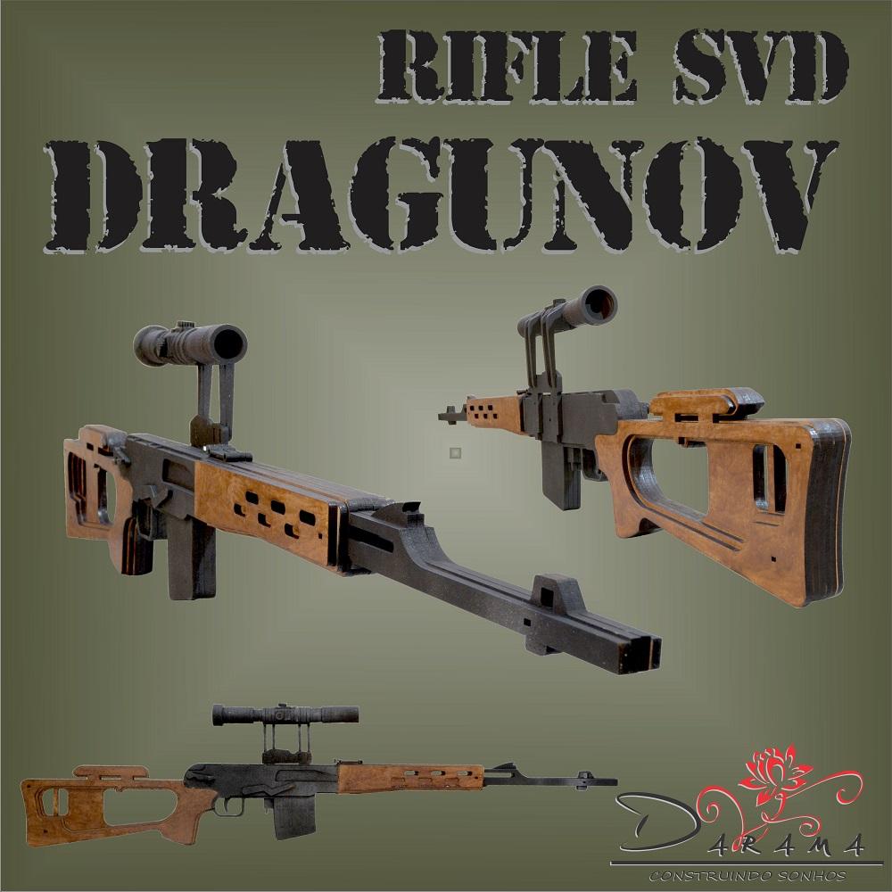Quebra cabeças 3D mod. Arma Rifle SVD Dragunov em MDF 6mm Pintura- Darama
