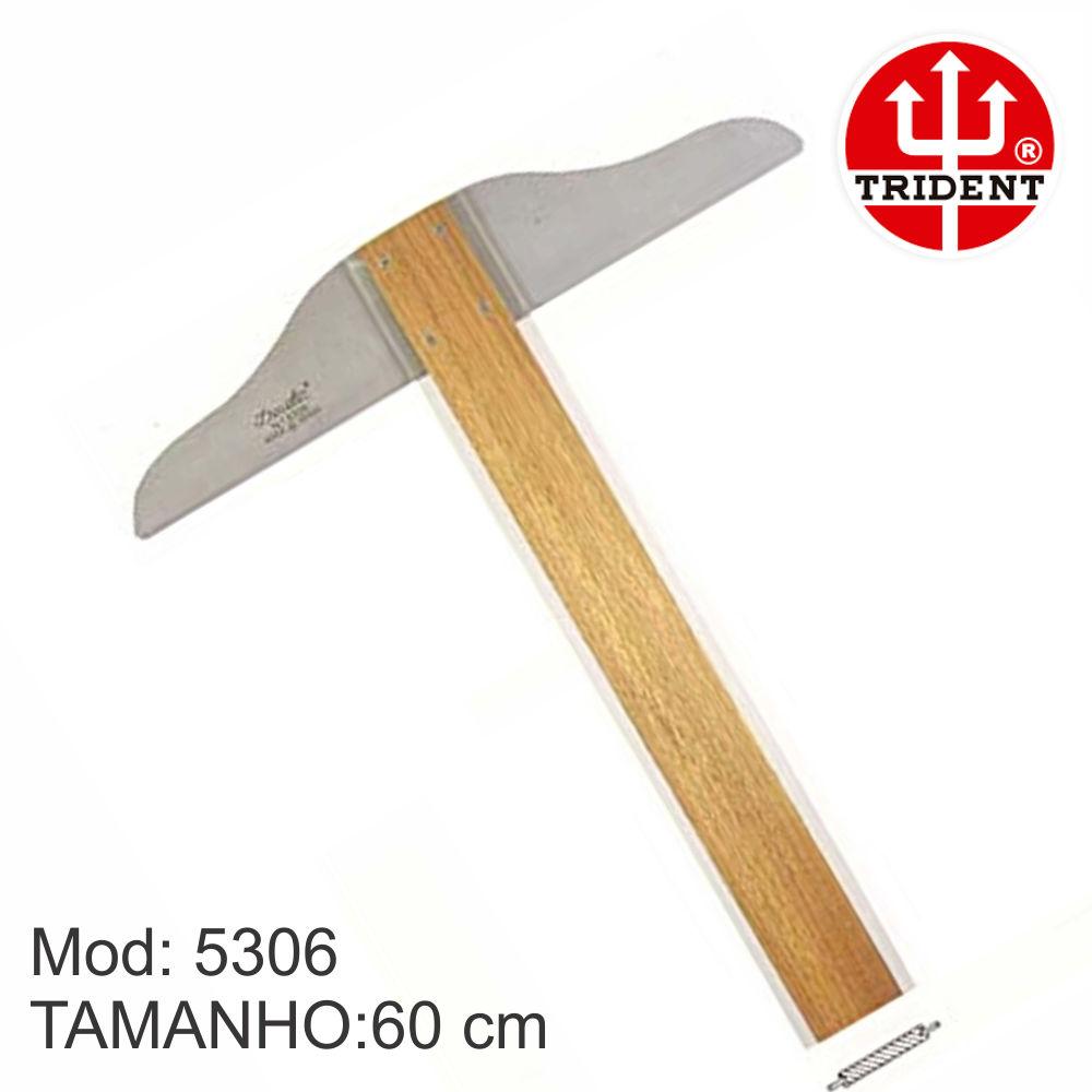 Régua T Trident mod 5306 Madeira 60 Cm cabeçote fixo Desetec