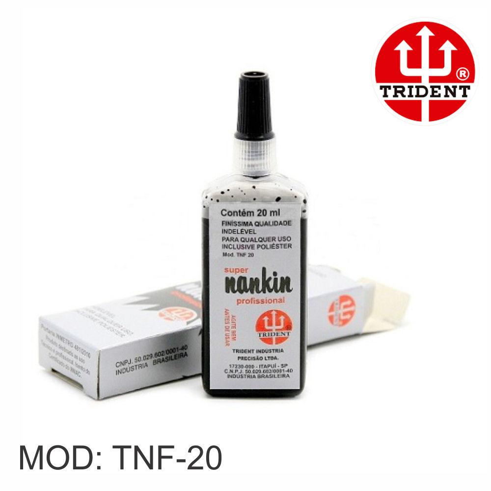 Tinta Nankin TRIDENT Profissional Preto 20ml TNF20 Desetec